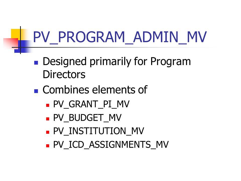 PV_PROGRAM_ADMIN_MV Designed primarily for Program Directors Combines elements of PV_GRANT_PI_MV PV_BUDGET_MV PV_INSTITUTION_MV PV_ICD_ASSIGNMENTS_MV