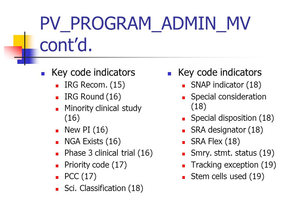 PV_PROGRAM_ADMIN_MV cont'd. Key code indicators IRG Recom.
