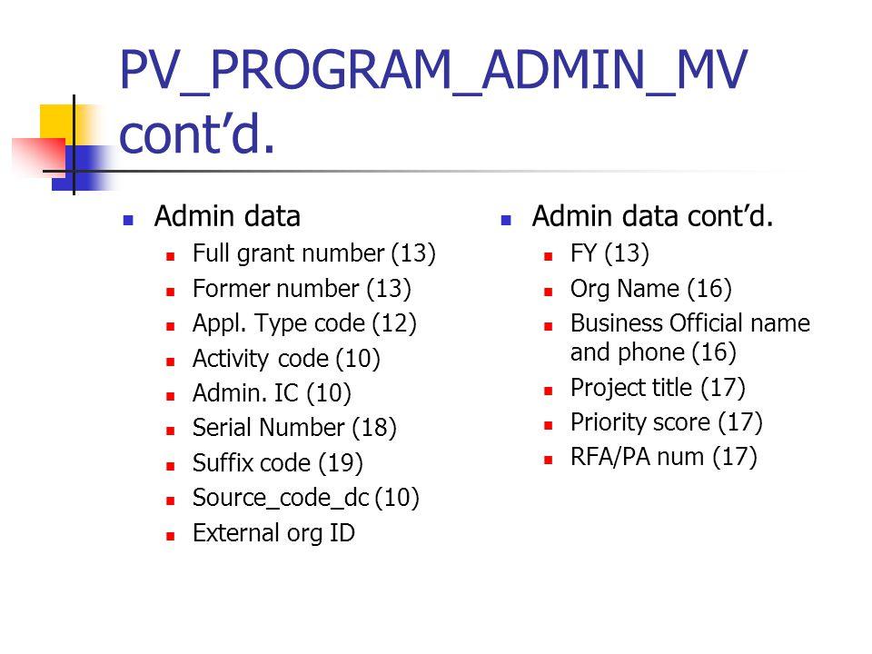 PV_PROGRAM_ADMIN_MV cont'd. Admin data Full grant number (13) Former number (13) Appl. Type code (12) Activity code (10) Admin. IC (10) Serial Number
