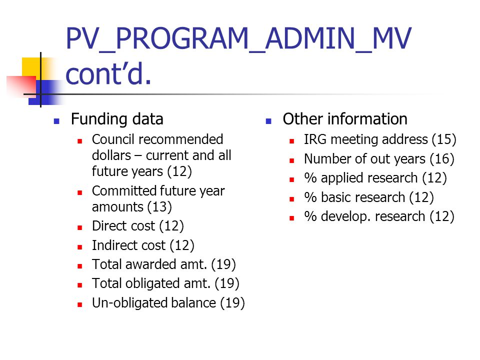 PV_PROGRAM_ADMIN_MV cont'd.