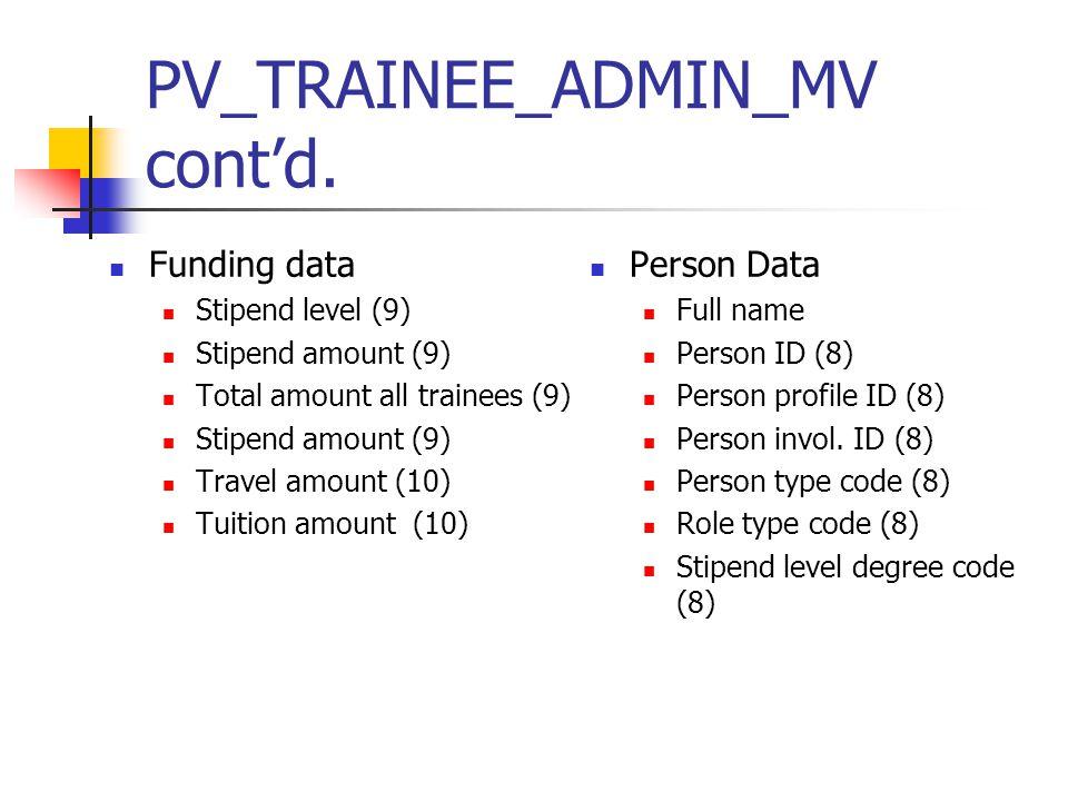 PV_TRAINEE_ADMIN_MV cont'd.