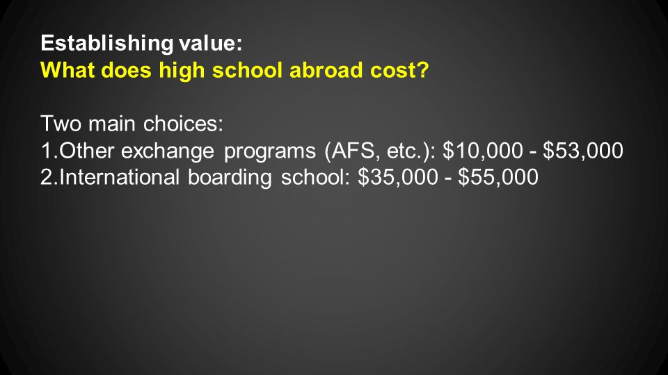 Establishing value: What does high school abroad cost.