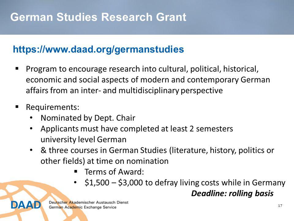 17 https://www.daad.org/germanstudies German Studies Research Grant