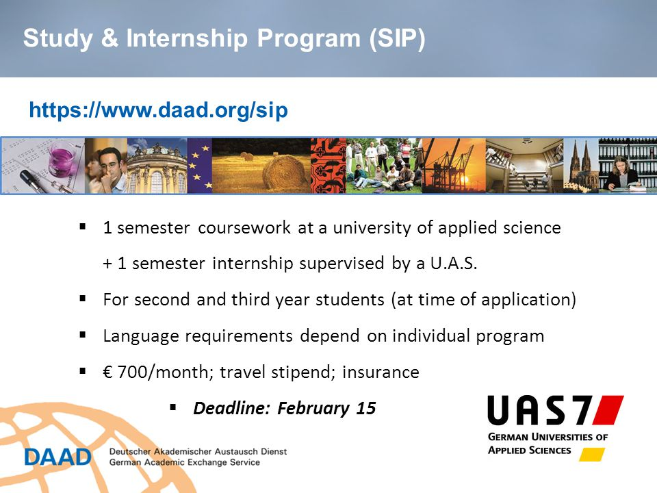 https://www.daad.org/sip  1 semester coursework at a university of applied science + 1 semester internship supervised by a U.A.S.