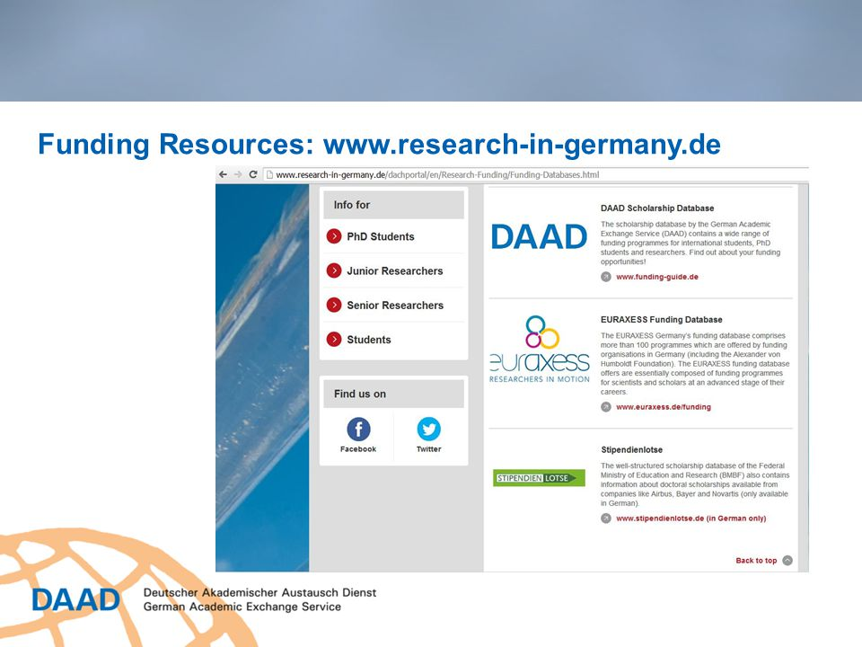 Funding Resources: www.research-in-germany.de