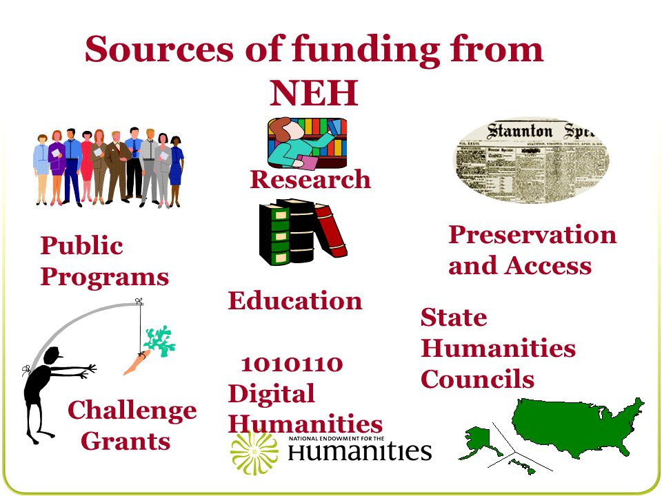 Sources of funding from NEH Research Public Programs Education 1010110 Digital Humanities Challenge Grants Preservation and Access State Humanities Councils