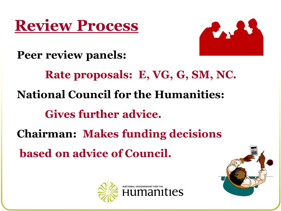 Peer review panels: Rate proposals: E, VG, G, SM, NC.