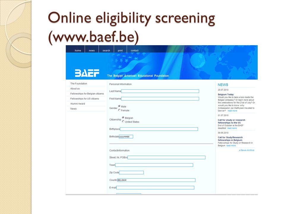 Online eligibility screening (www.baef.be)