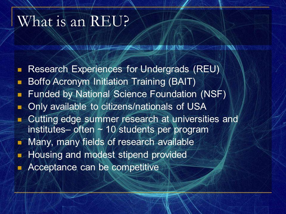 What is an REU.