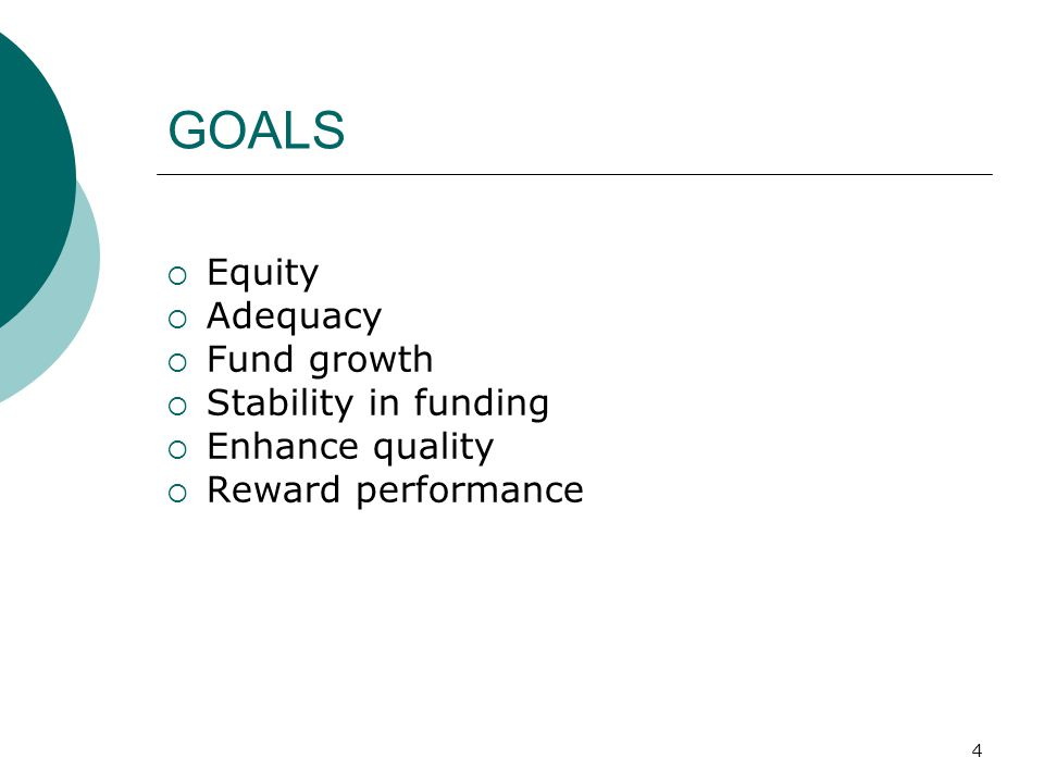 4 GOALS  Equity  Adequacy  Fund growth  Stability in funding  Enhance quality  Reward performance