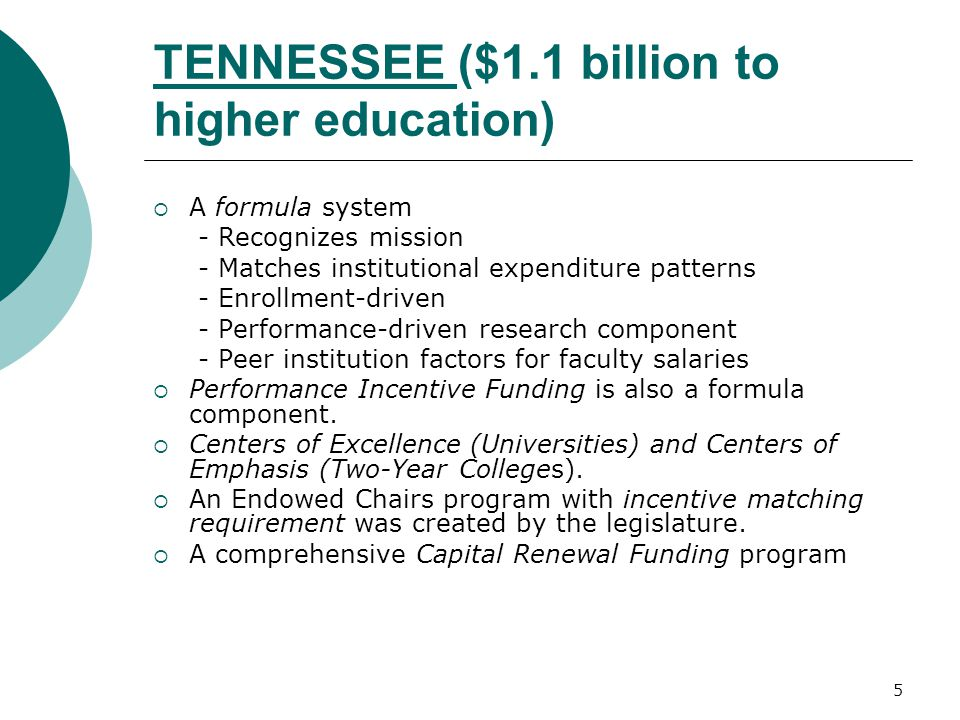 5 TENNESSEE ($1.1 billion to higher education)  A formula system - Recognizes mission - Matches institutional expenditure patterns - Enrollment-driven - Performance-driven research component - Peer institution factors for faculty salaries  Performance Incentive Funding is also a formula component.