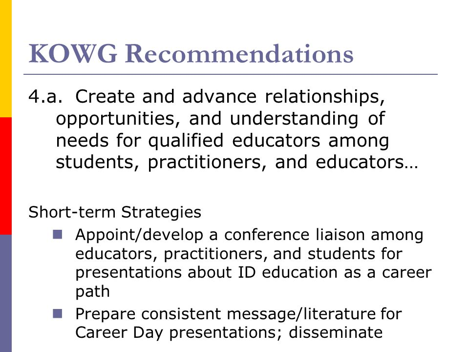 KOWG Recommendations 4.a.Create and advance relationships, opportunities, and understanding of needs for qualified educators among students, practitioners, and educators… Short-term Strategies Appoint/develop a conference liaison among educators, practitioners, and students for presentations about ID education as a career path Prepare consistent message/literature for Career Day presentations; disseminate
