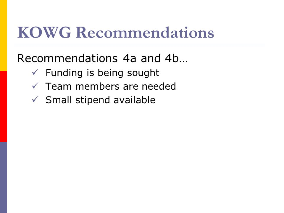 KOWG Recommendations Recommendations 4a and 4b… Funding is being sought Team members are needed Small stipend available