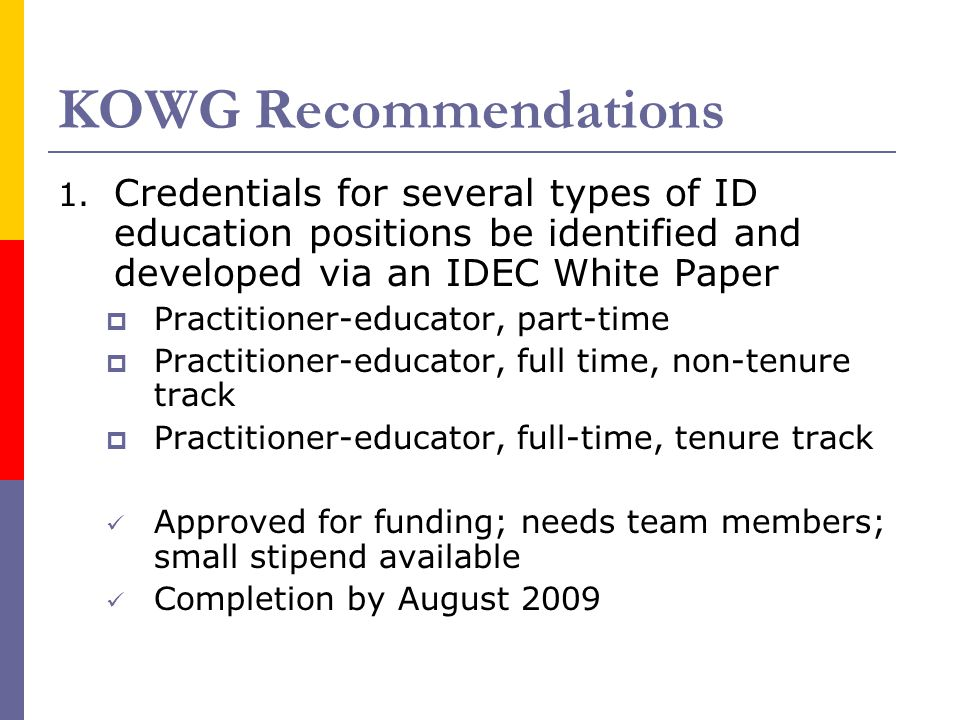 KOWG Recommendations 1.