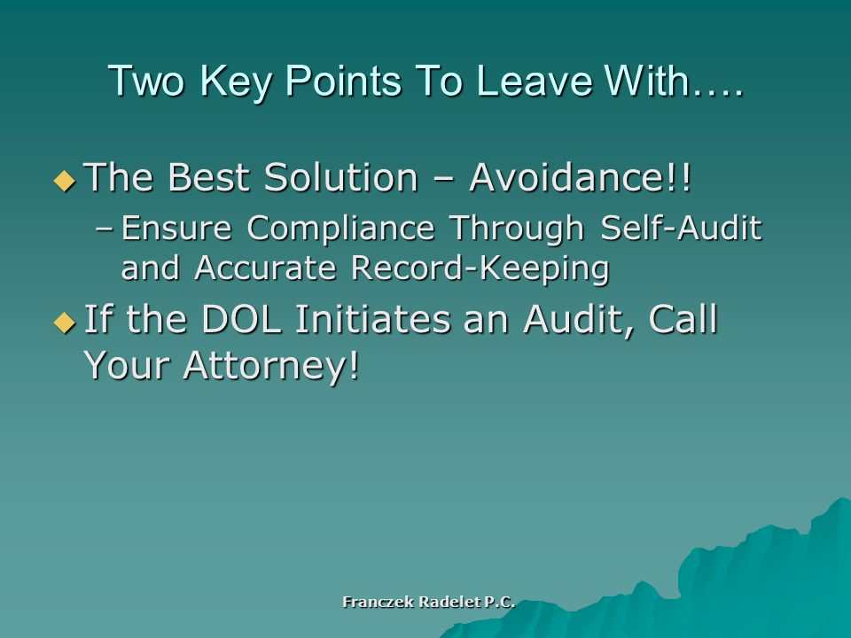 Two Key Points To Leave With…. The Best Solution – Avoidance!.