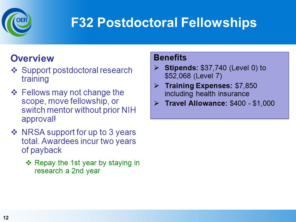 12 F32 Postdoctoral Fellowships Overview  Support postdoctoral research training  Fellows may not change the scope, move fellowship, or switch mentor without prior NIH approval.