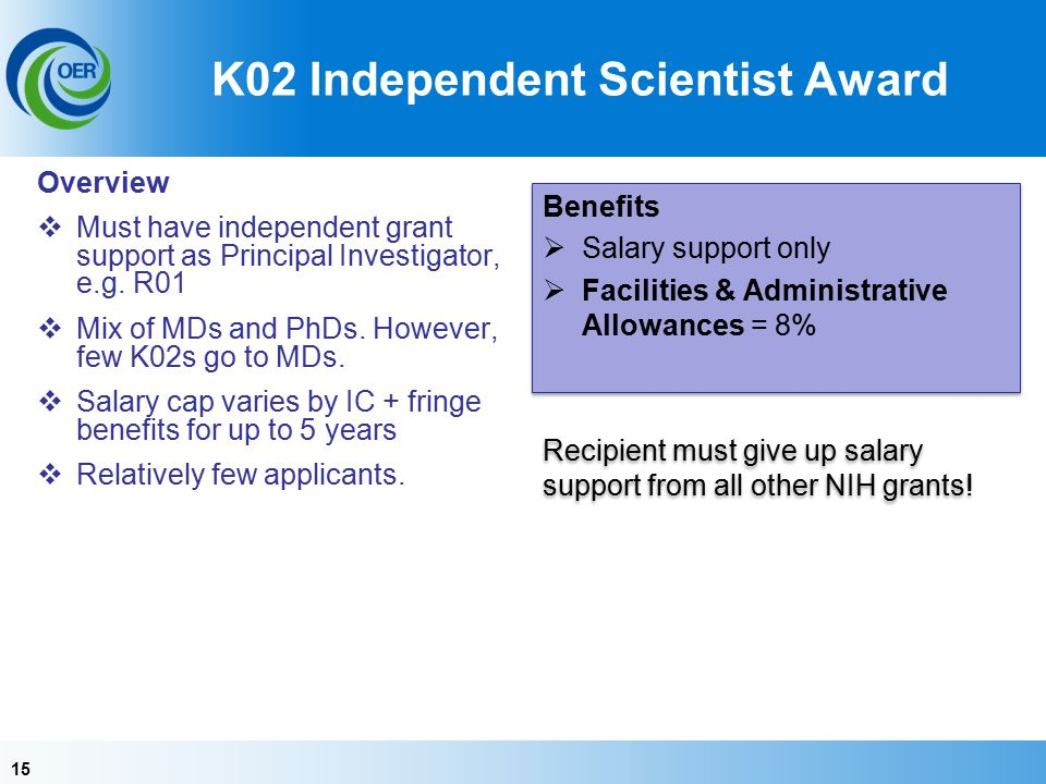 15 K02 Independent Scientist Award Overview  Must have independent grant support as Principal Investigator, e.g.