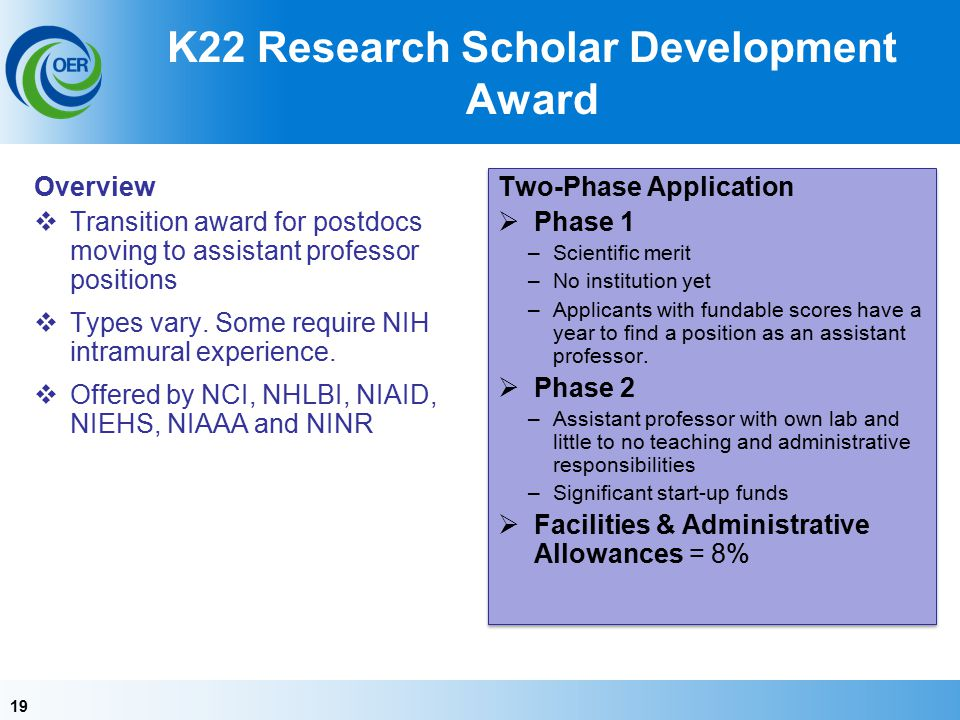19 K22 Research Scholar Development Award Overview  Transition award for postdocs moving to assistant professor positions  Types vary.