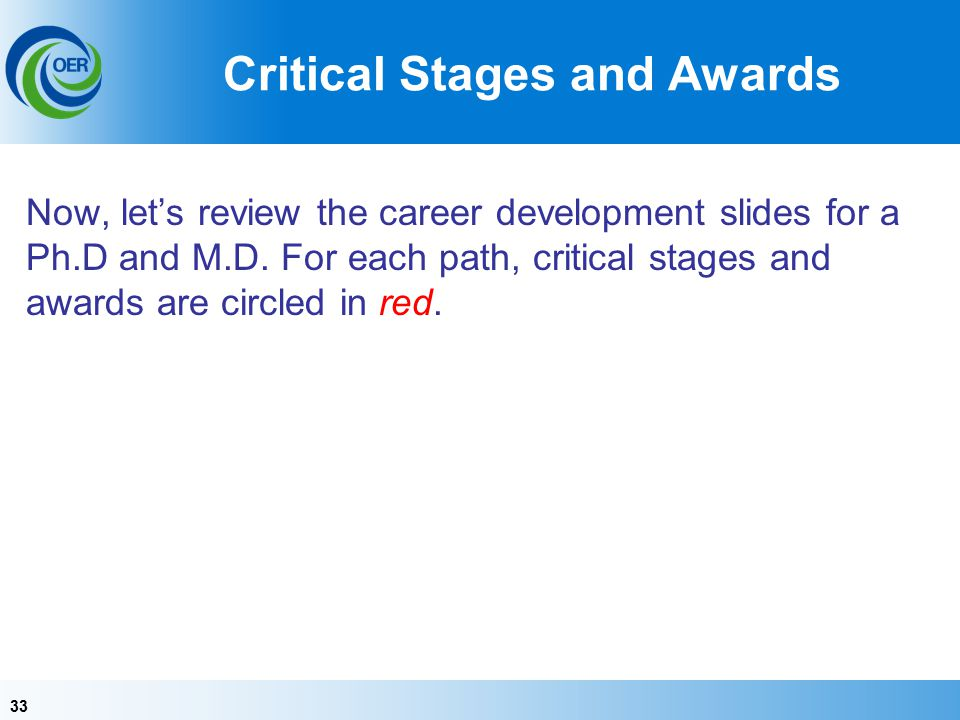 33 Critical Stages and Awards Now, let's review the career development slides for a Ph.D and M.D.