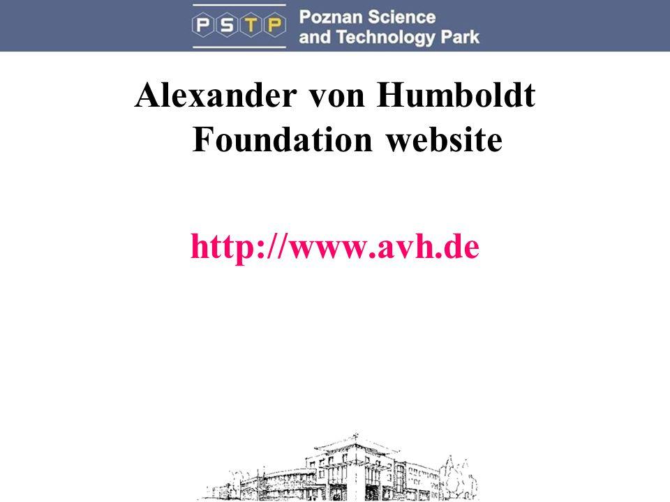 Alexander von Humboldt Foundation website http://www.avh.de