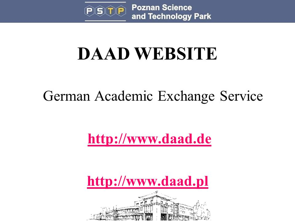DAAD WEBSITE German Academic Exchange Service http://www.daad.de http://www.daad.pl