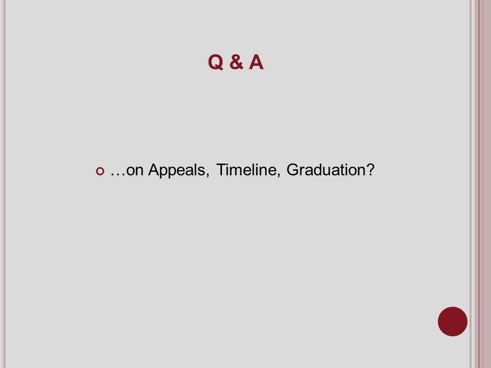 Q & A …on Appeals, Timeline, Graduation?