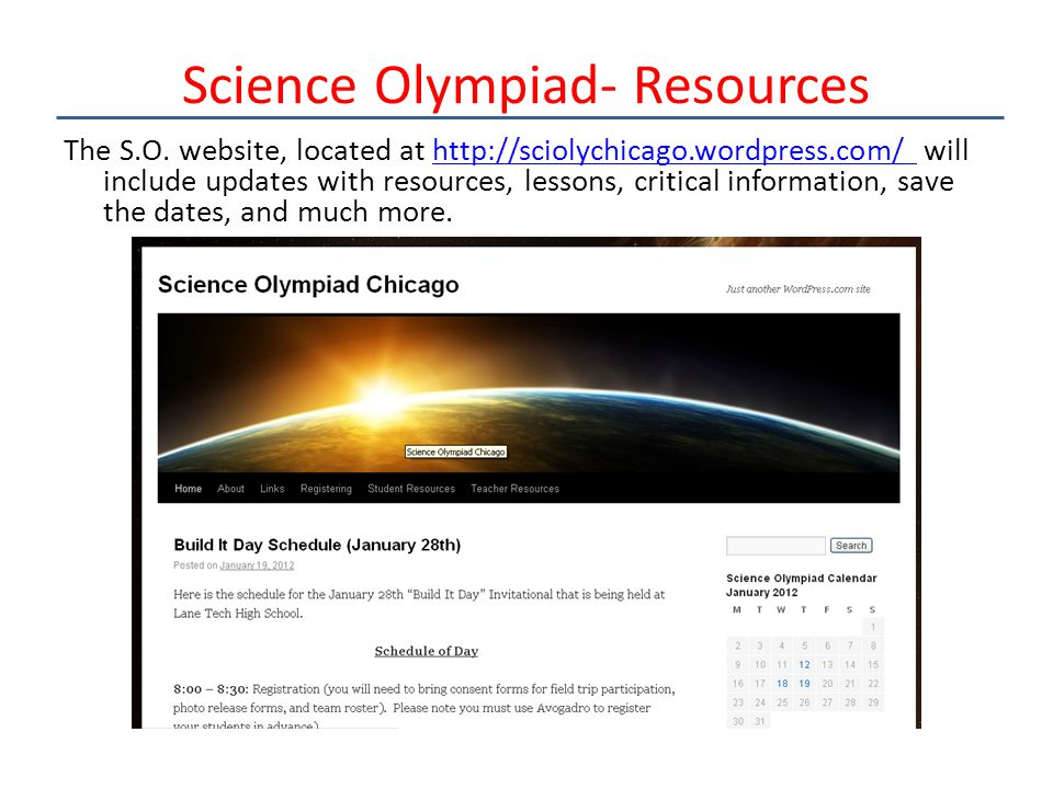 Science Olympiad- Resources The S.O.