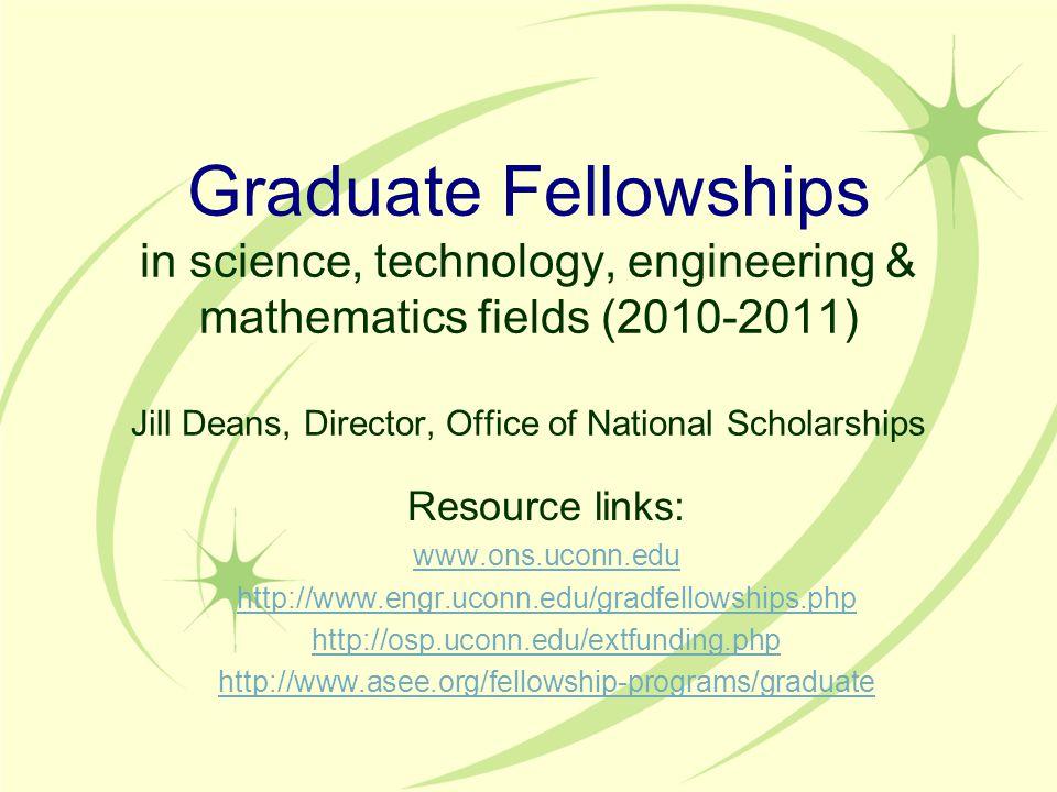 NSF Graduate Research Fellowship (NSF GRFP) www.nsfgrfp.org Eligibility: U.S.