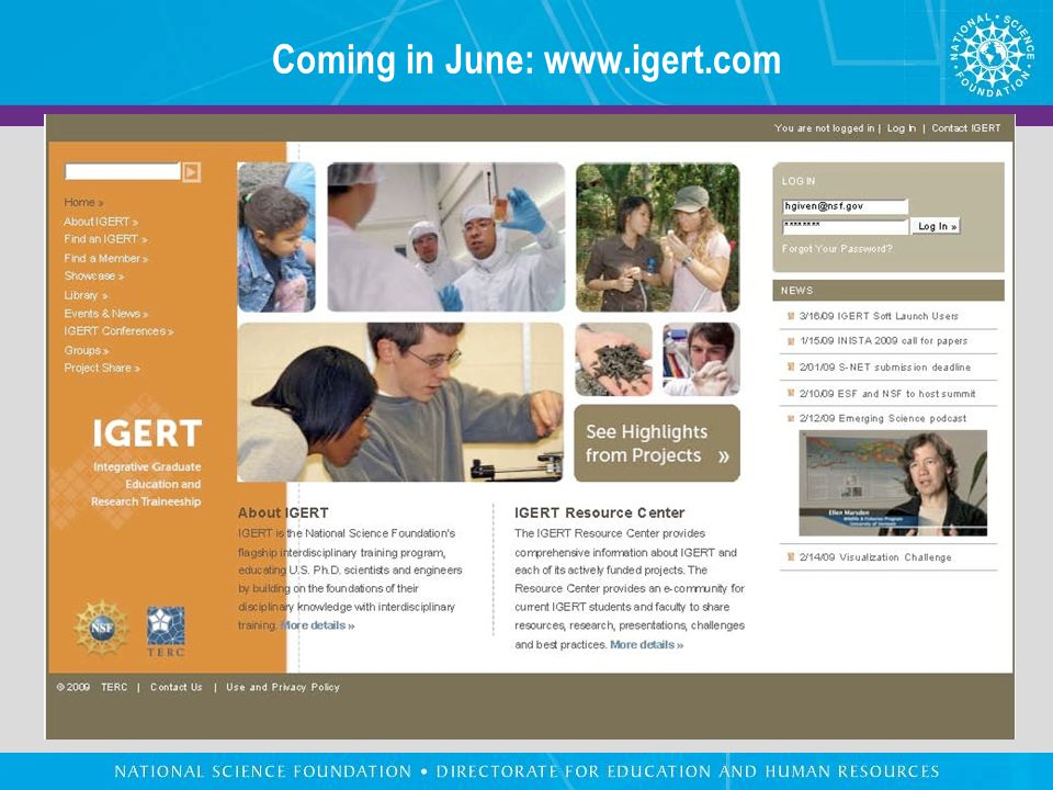 Coming in June: www.igert.com