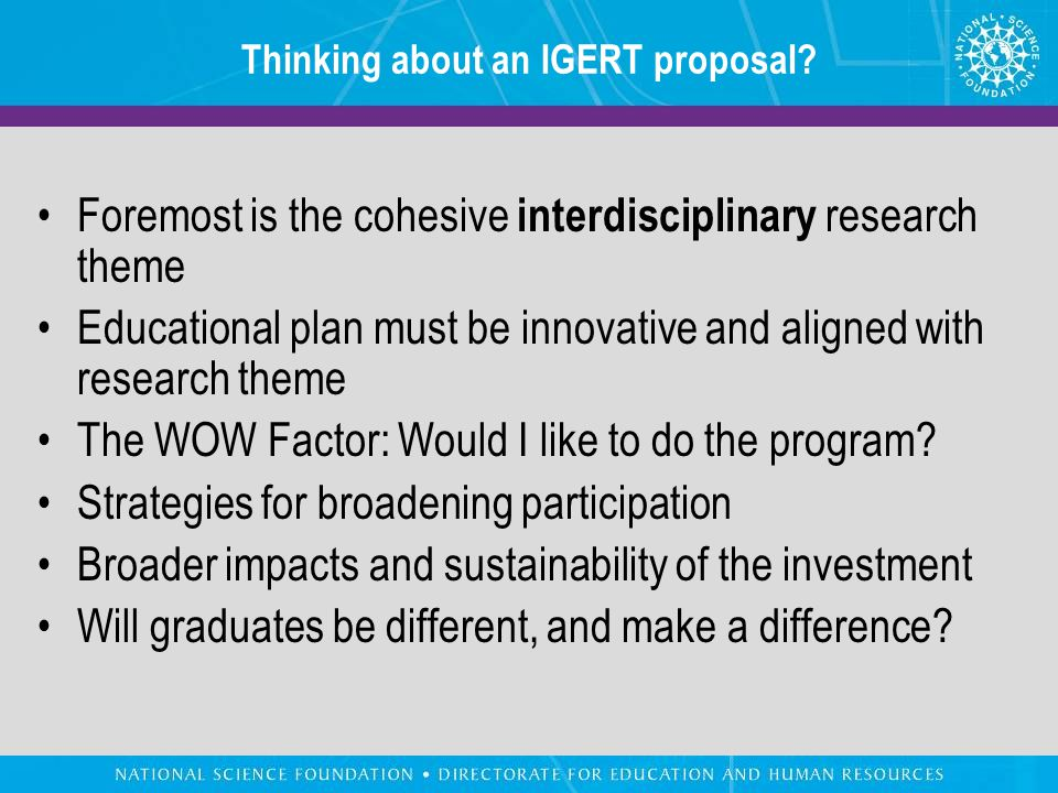 Thinking about an IGERT proposal.