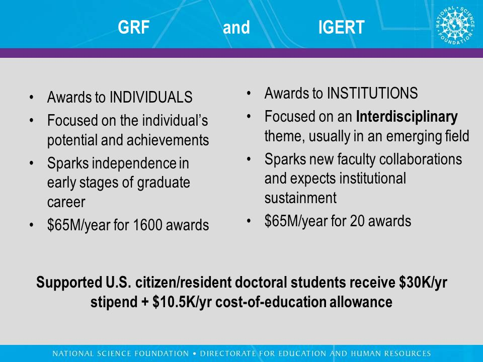 GRF and IGERT Awards to INDIVIDUALS Focused on the individual's potential and achievements Sparks independence in early stages of graduate career $65M