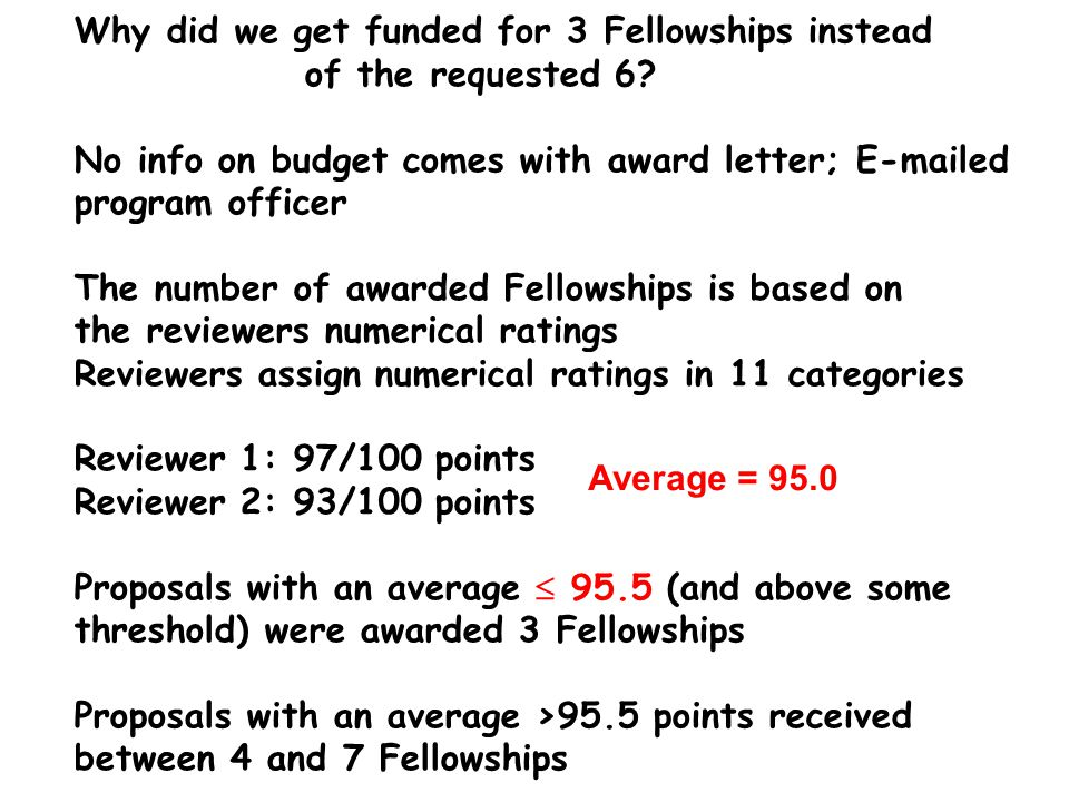 Why did we get funded for 3 Fellowships instead of the requested 6.