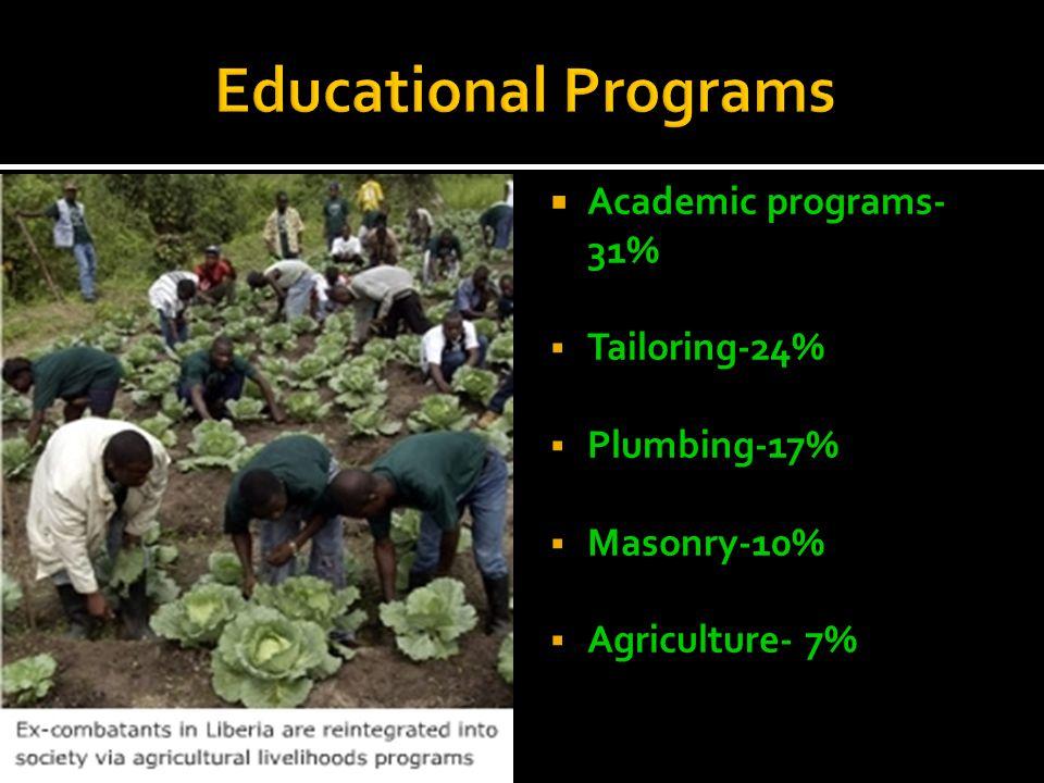  Academic programs- 31%  Tailoring-24%  Plumbing-17%  Masonry-10%  Agriculture- 7%