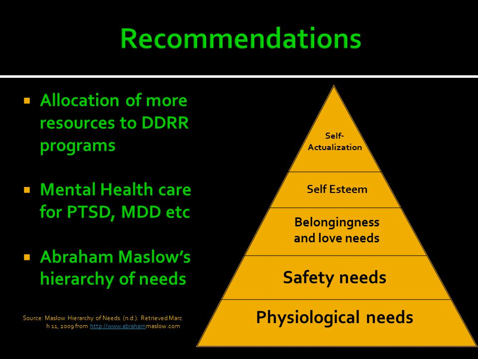 Allocation of more resources to DDRR programs  Mental Health care for PTSD, MDD etc  Abraham Maslow's hierarchy of needs Source: Maslow Hierarchy of Needs.