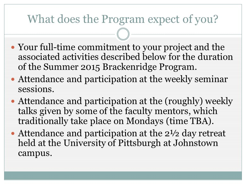 What can you expect of the Program.$3,500 stipend.