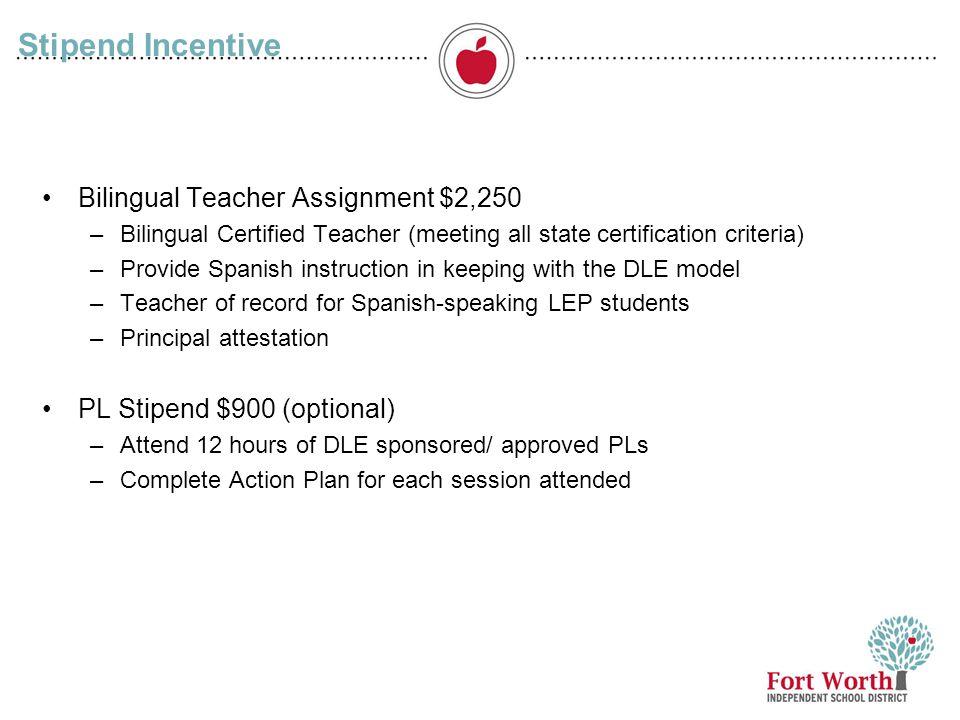 11 Stipend Incentive Bilingual Teacher Assignment $2,250 –Bilingual Certified Teacher (meeting all state certification criteria) –Provide Spanish inst