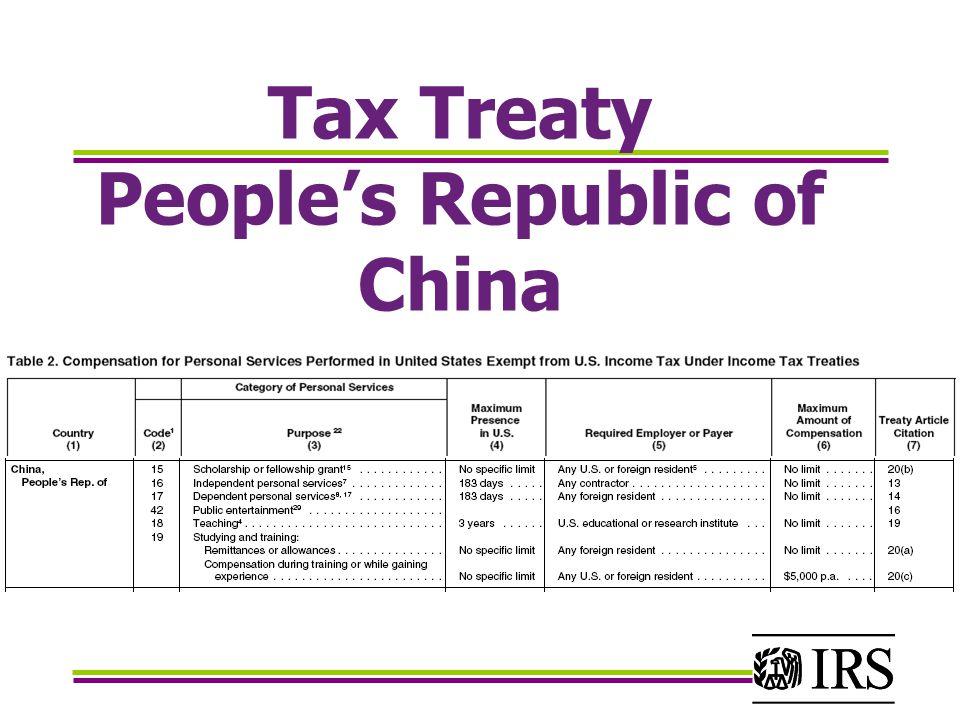 Tax Treaty People's Republic of China