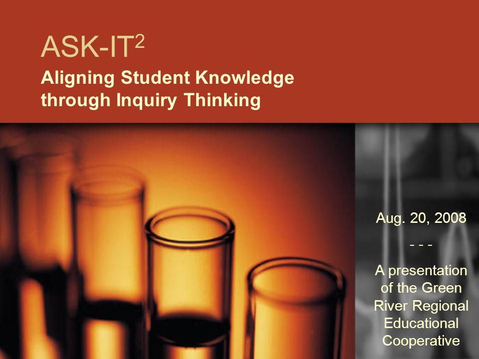ASK-IT 2 Aligning Student Knowledge through Inquiry Thinking Aug.
