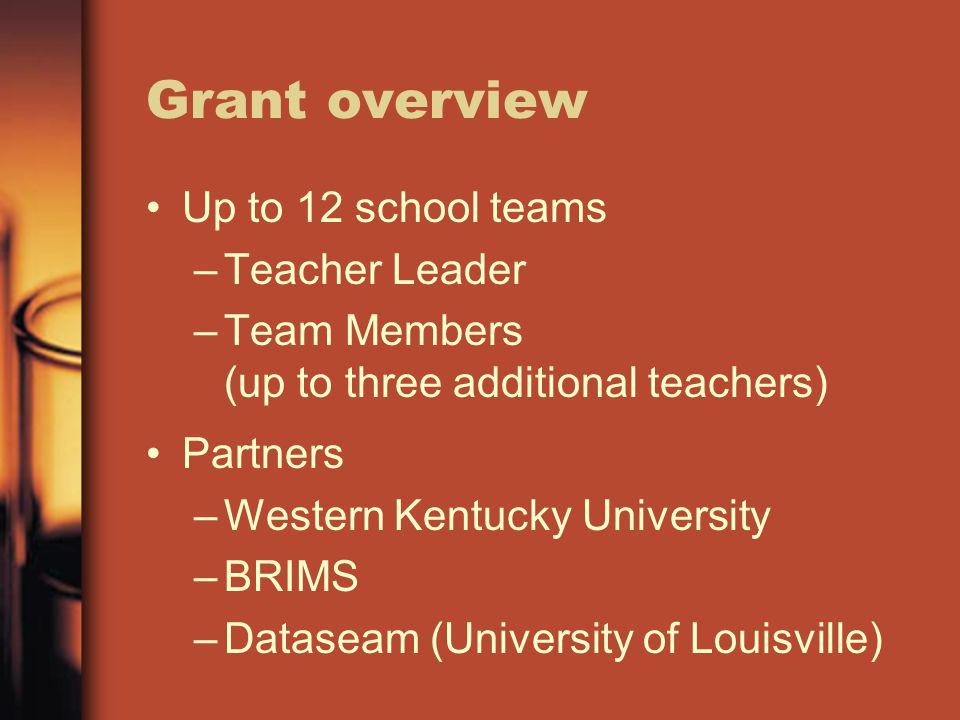 Grant overview Up to 12 school teams –Teacher Leader –Team Members (up to three additional teachers) Partners –Western Kentucky University –BRIMS –Dataseam (University of Louisville)