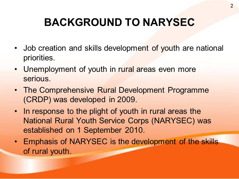 BACKGROUND TO NARYSEC Job creation and skills development of youth are national priorities.