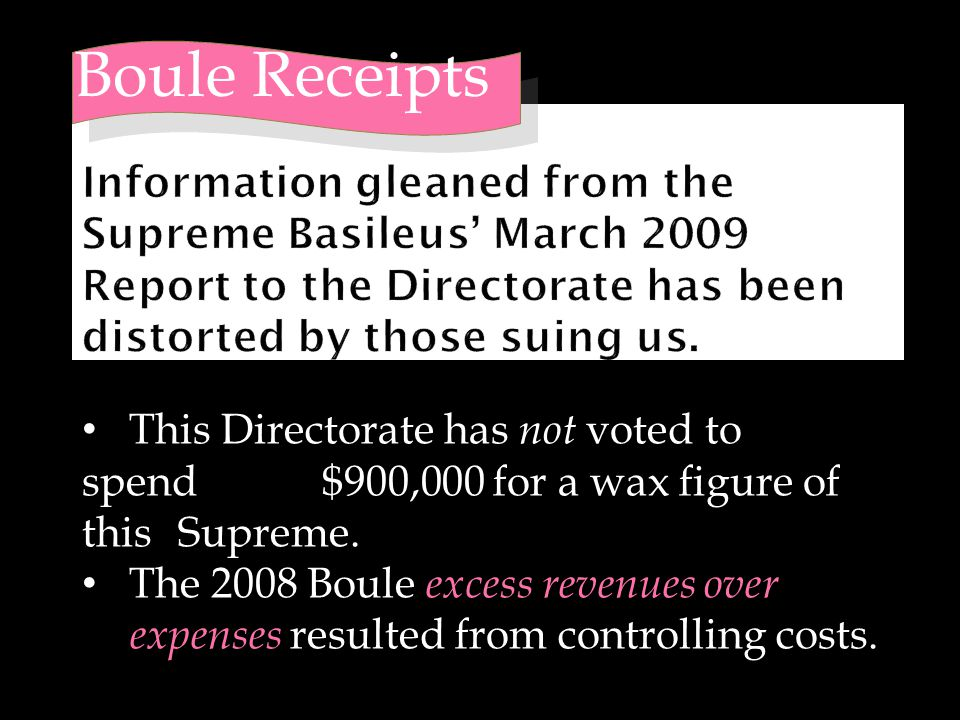 Boule Receipts This Directorate has not voted to spend $900,000 for a wax figure of this Supreme. The 2008 Boule excess revenues over expenses resulte
