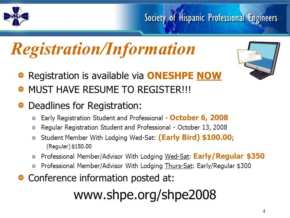 4 Registration/Information Registration is available via ONESHPE NOW MUST HAVE RESUME TO REGISTER!!.