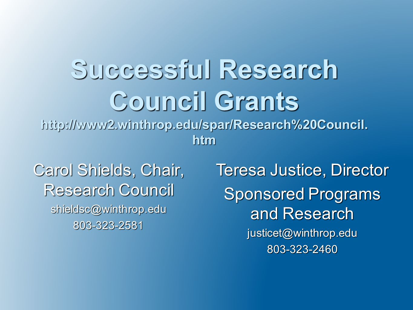 Carol Shields, Chair, Research Council shieldsc@winthrop.edu803-323-2581 Successful Research Council Grants http://www2.winthrop.edu/spar/Research%20Council.