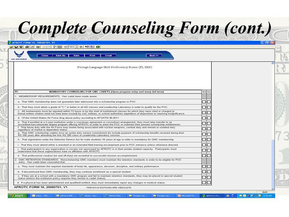 Complete Counseling Form (cont.)