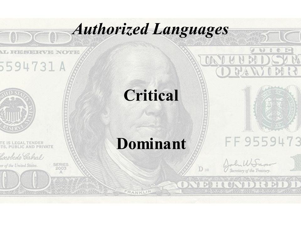 Authorized Languages (Critical)