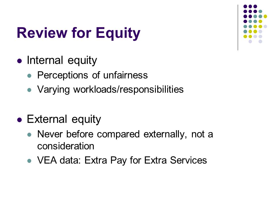 Review for Equity Internal equity Perceptions of unfairness Varying workloads/responsibilities External equity Never before compared externally, not a consideration VEA data: Extra Pay for Extra Services