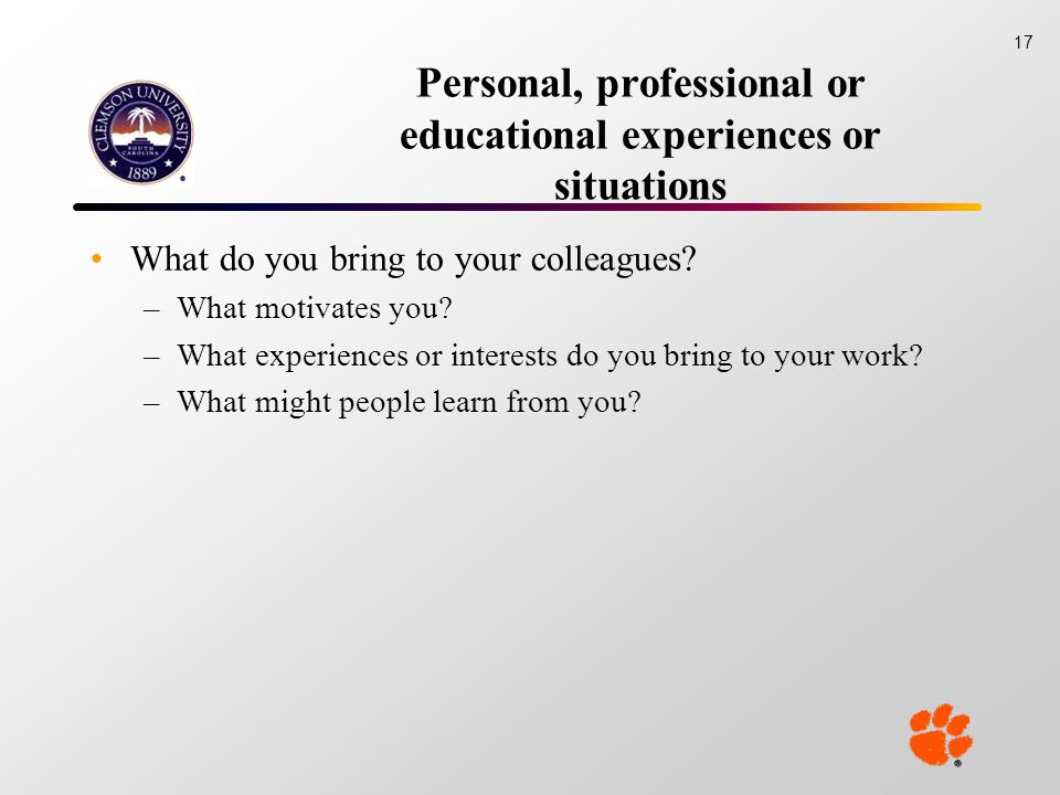 Personal, professional or educational experiences or situations What do you bring to your colleagues.