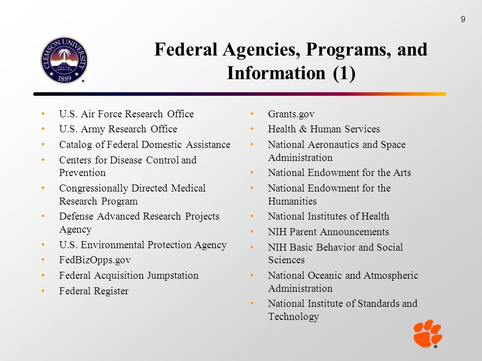 Federal Agencies, Programs, and Information (1) U.S.