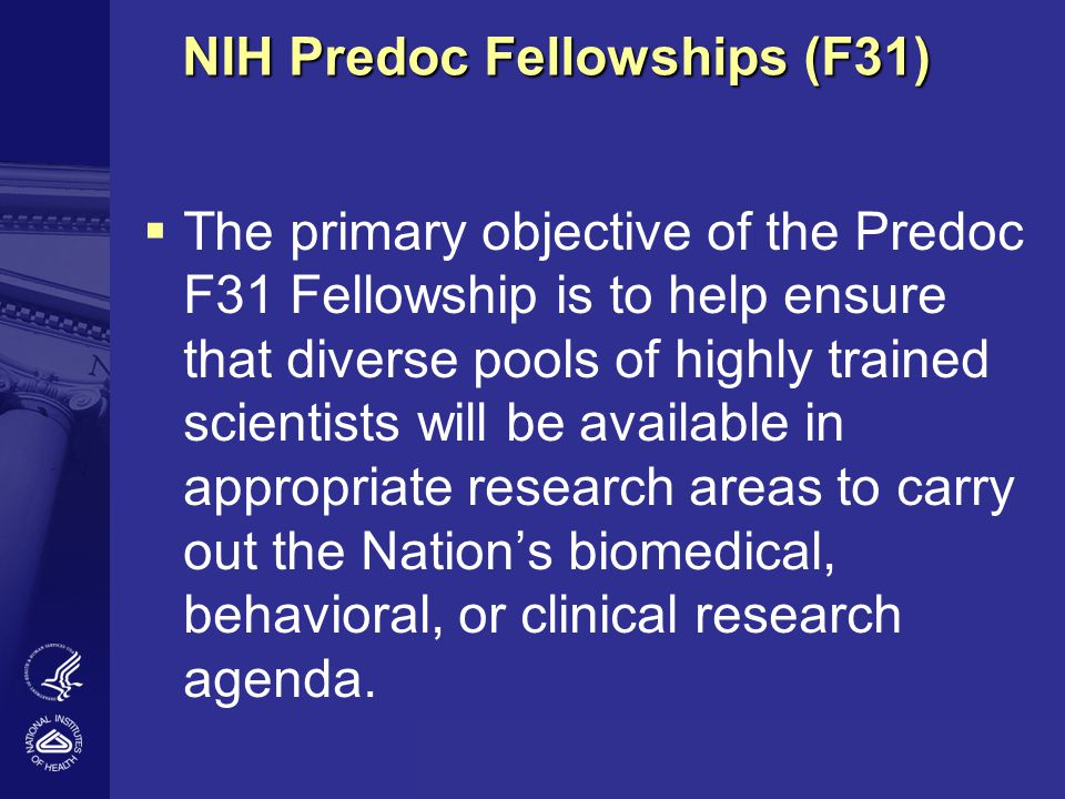NIH Predoc Fellowships (F31) Up to 5 years of support; $20,976 (FY09) annual stipend plus partial tuition (60% of request up to 16K) and health insurance & institutional allowance [$3,100 (federal and non-profit) or $4,200 (others)] Candidate must identify a mentor who will supervise the predoctoral research Mentor and candidate work together to prepare the F31 application; competitive program - reviewers look for: - Applicant - Mentor - Environment - Proposed Research