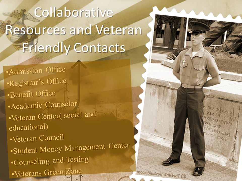 Collaborative Resources and Veteran Friendly Contacts Admission OfficeAdmission Office Registrar's OfficeRegistrar's Office Benefit OfficeBenefit Offi